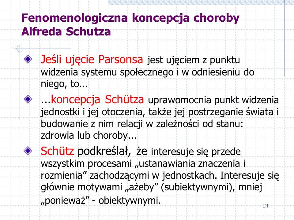 Fenomenologiczna koncepcja choroby Alfreda Schutza