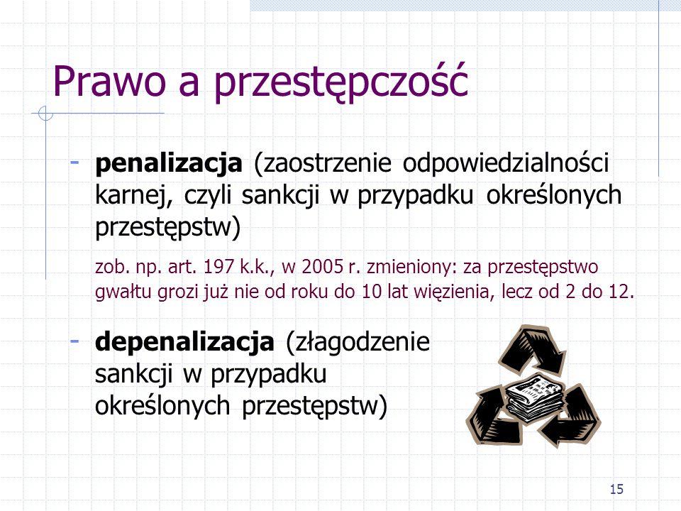 Prawo a przestępczość penalizacja (zaostrzenie odpowiedzialności karnej, czyli sankcji w przypadku określonych przestępstw)