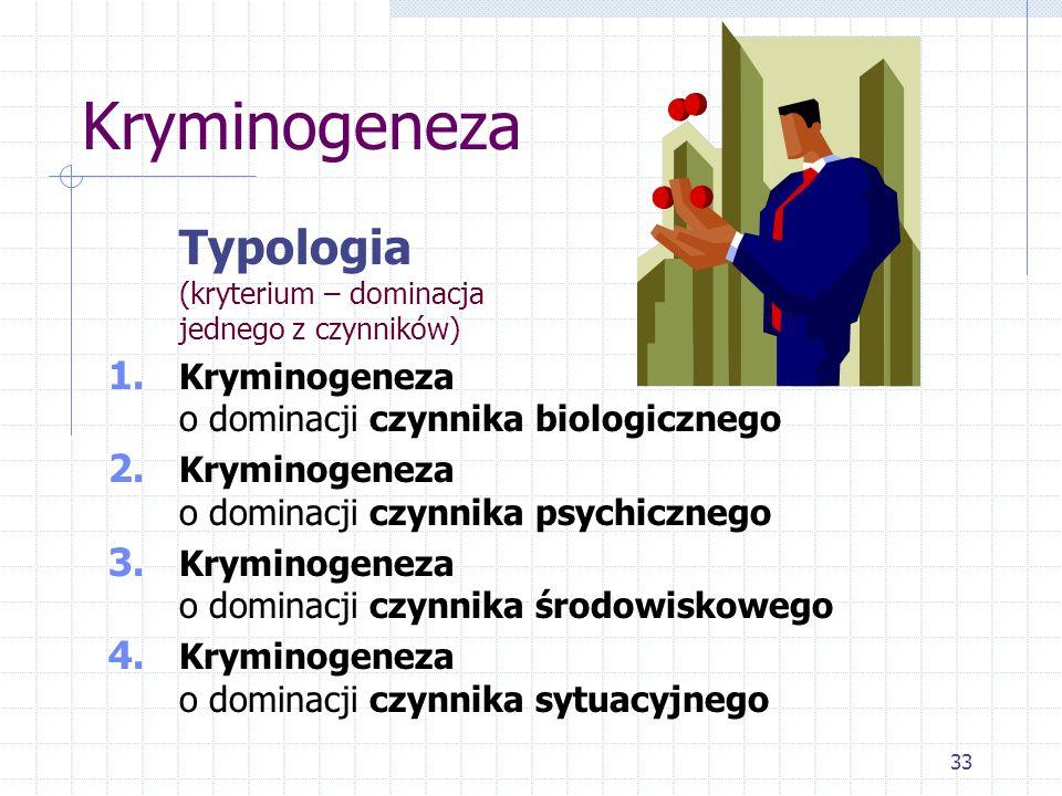 Kryminogeneza Typologia (kryterium – dominacja jednego z czynników)