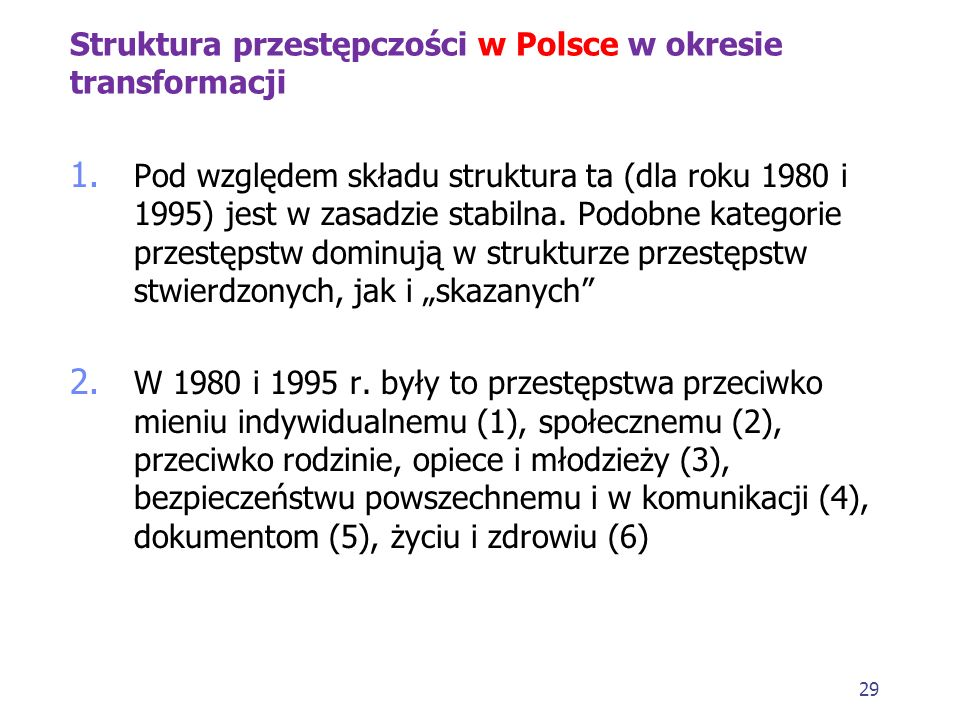 Struktura przestępczości w Polsce w okresie transformacji