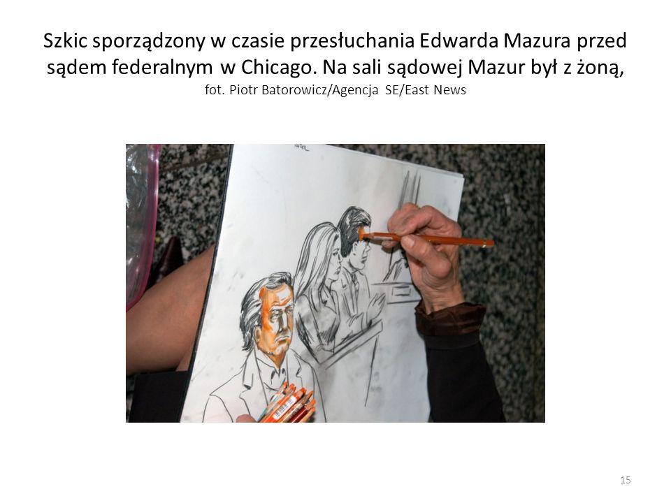 Szkic sporządzony w czasie przesłuchania Edwarda Mazura przed sądem federalnym w Chicago.