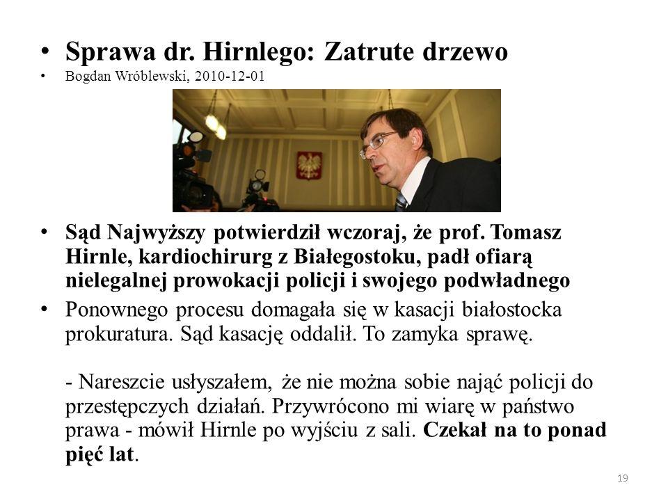 Sprawa dr. Hirnlego: Zatrute drzewo