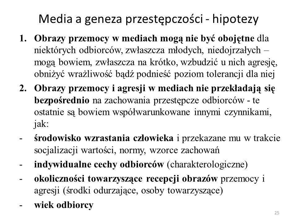 Media a geneza przestępczości - hipotezy