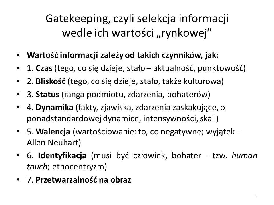 """Gatekeeping, czyli selekcja informacji wedle ich wartości """"rynkowej"""