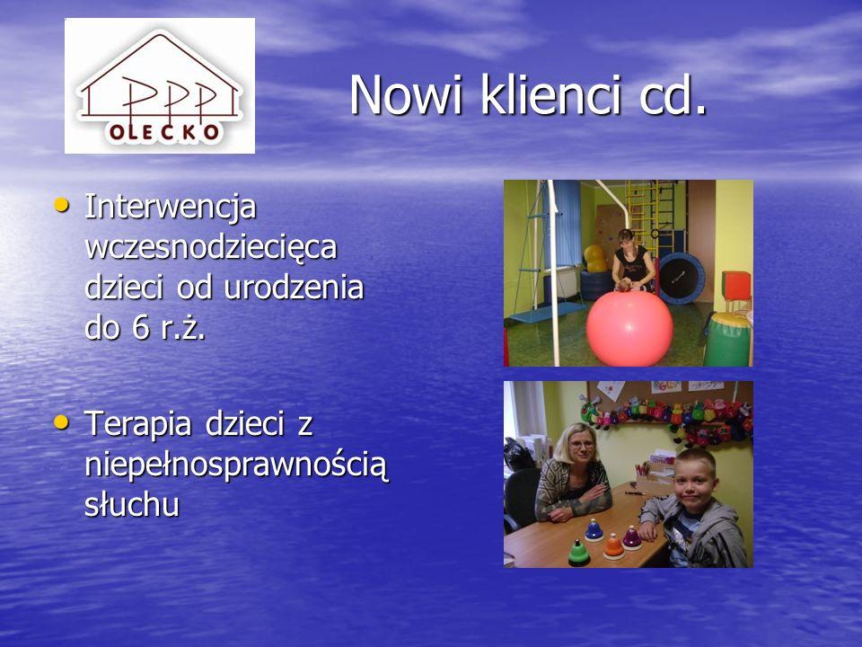 Nowi klienci cd.Interwencja wczesnodziecięca dzieci od urodzenia do 6 r.ż.