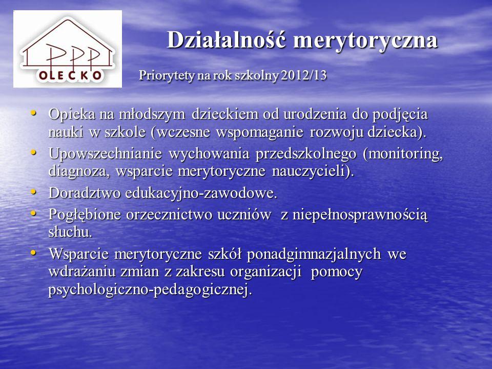 Działalność merytoryczna Priorytety na rok szkolny 2012/13
