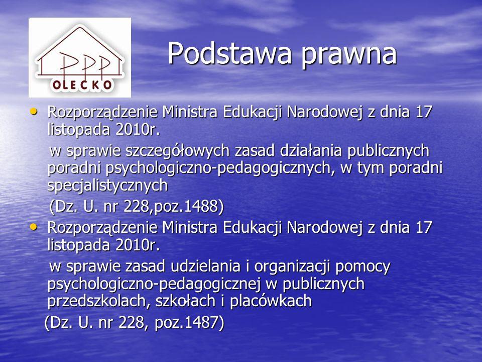 Podstawa prawna Rozporządzenie Ministra Edukacji Narodowej z dnia 17 listopada 2010r.
