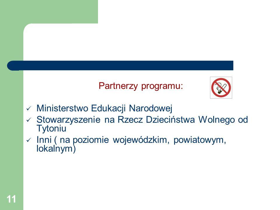 Partnerzy programu: Ministerstwo Edukacji Narodowej. Stowarzyszenie na Rzecz Dzieciństwa Wolnego od Tytoniu.