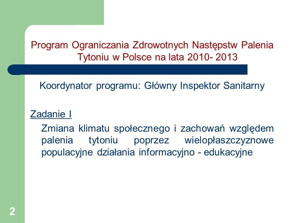 Koordynator programu: Główny Inspektor Sanitarny