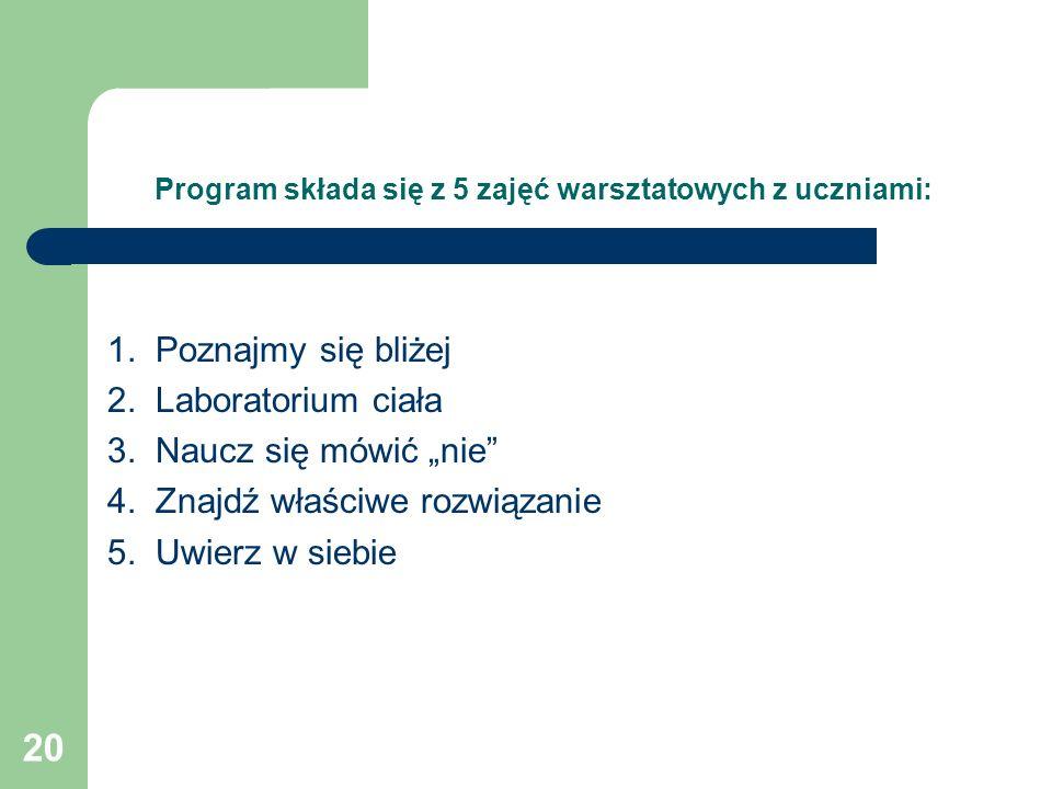 Program składa się z 5 zajęć warsztatowych z uczniami: