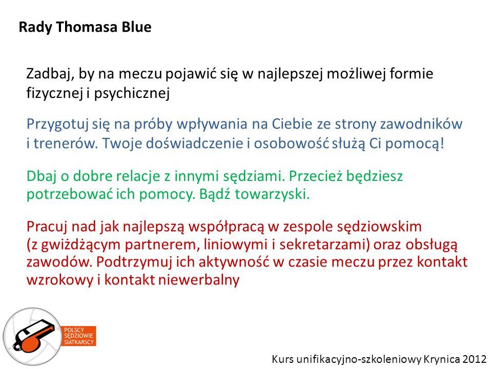 Rady Thomasa Blue Zadbaj, by na meczu pojawić się w najlepszej możliwej formie fizycznej i psychicznej.