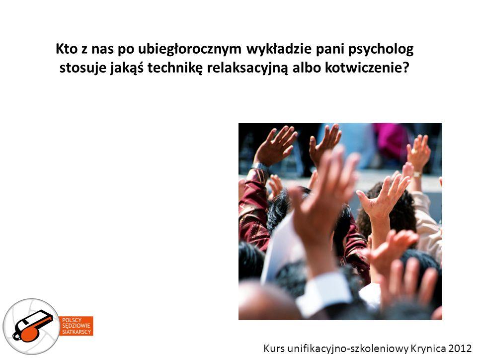 Kto z nas po ubiegłorocznym wykładzie pani psycholog stosuje jakąś technikę relaksacyjną albo kotwiczenie
