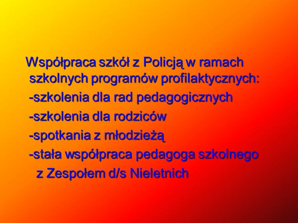 Współpraca szkół z Policją w ramach szkolnych programów profilaktycznych: -szkolenia dla rad pedagogicznych -szkolenia dla rodziców -spotkania z młodzieżą -stała współpraca pedagoga szkolnego z Zespołem d/s Nieletnich