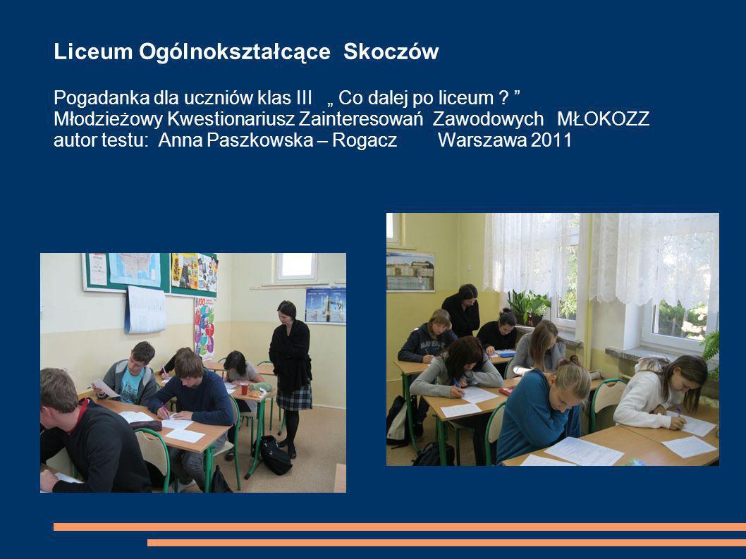 """Liceum Ogólnokształcące Skoczów Pogadanka dla uczniów klas III """" Co dalej po liceum ."""