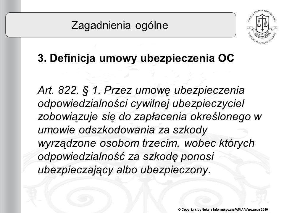 Zagadnienia ogólne 3. Definicja umowy ubezpieczenia OC.