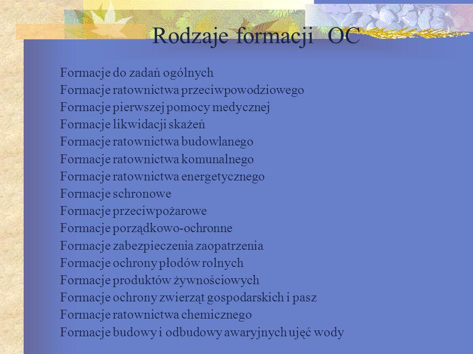 Rodzaje formacji OC Formacje do zadań ogólnych