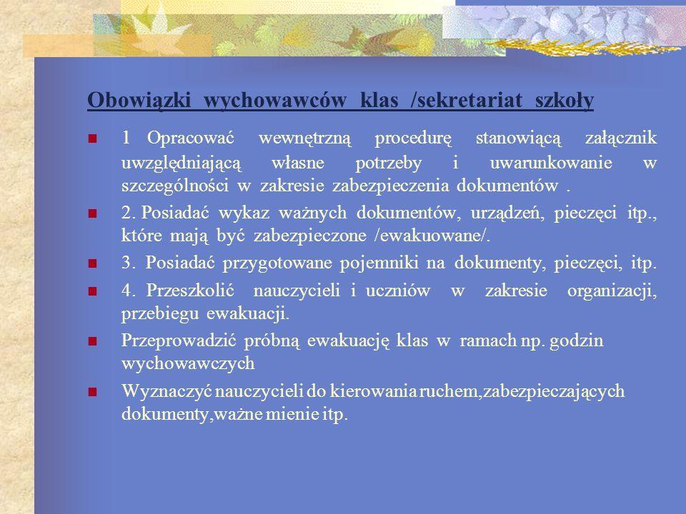 Obowiązki wychowawców klas /sekretariat szkoły