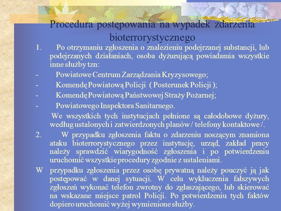 Procedura postępowania na wypadek zdarzenia bioterrorystycznego