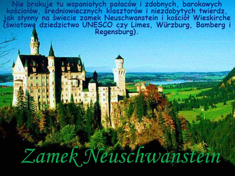 Nie brakuje tu wspaniałych pałaców i zdobnych, barokowych kościołów, średniowiecznych klasztorów i niezdobytych twierdz, jak słynny na świecie zamek Neuschwanstein i kościół Wieskirche (światowe dziedzictwo UNESCO czy Limes, Würzburg, Bamberg i Regensburg).