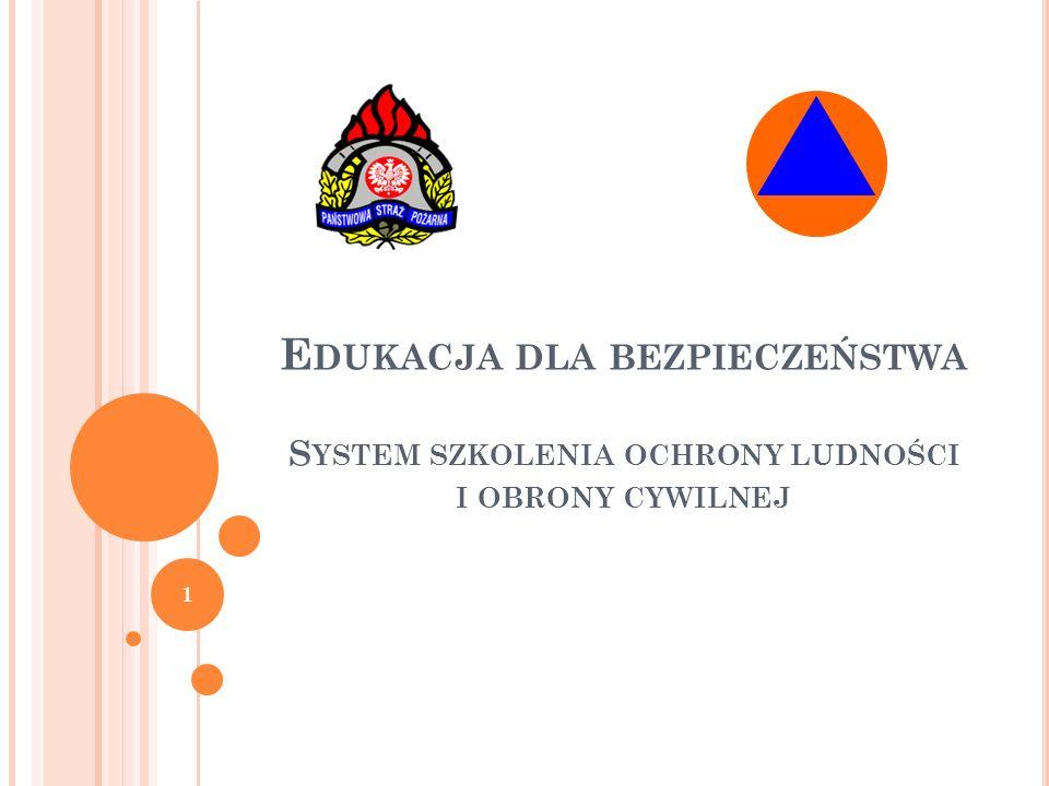 Edukacja dla bezpieczeństwa System szkolenia ochrony ludności i obrony cywilnej