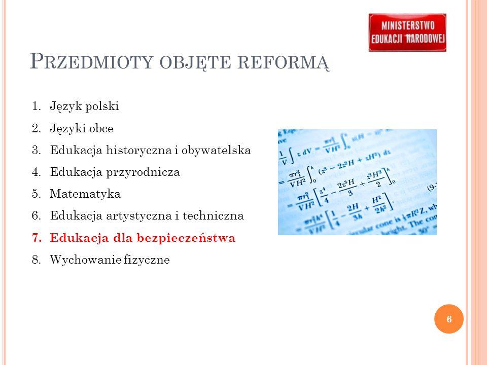 Przedmioty objęte reformą