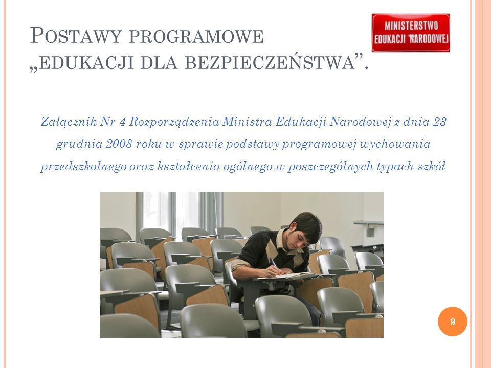 """Postawy programowe """"edukacji dla bezpieczeństwa ."""