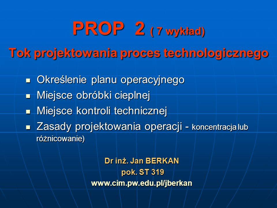 PROP 2 ( 7 wykład) Tok projektowania proces technologicznego