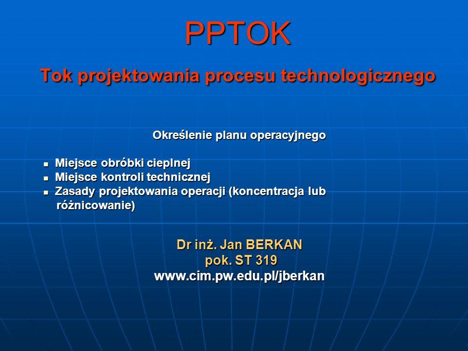 PPTOK Tok projektowania procesu technologicznego