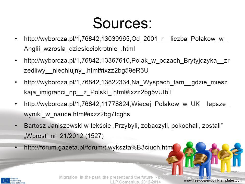 Sources: http://wyborcza.pl/1,76842,13039965,Od_2001_r__liczba_Polakow_w_Anglii_wzrosla_dziesieciokrotnie_.html.