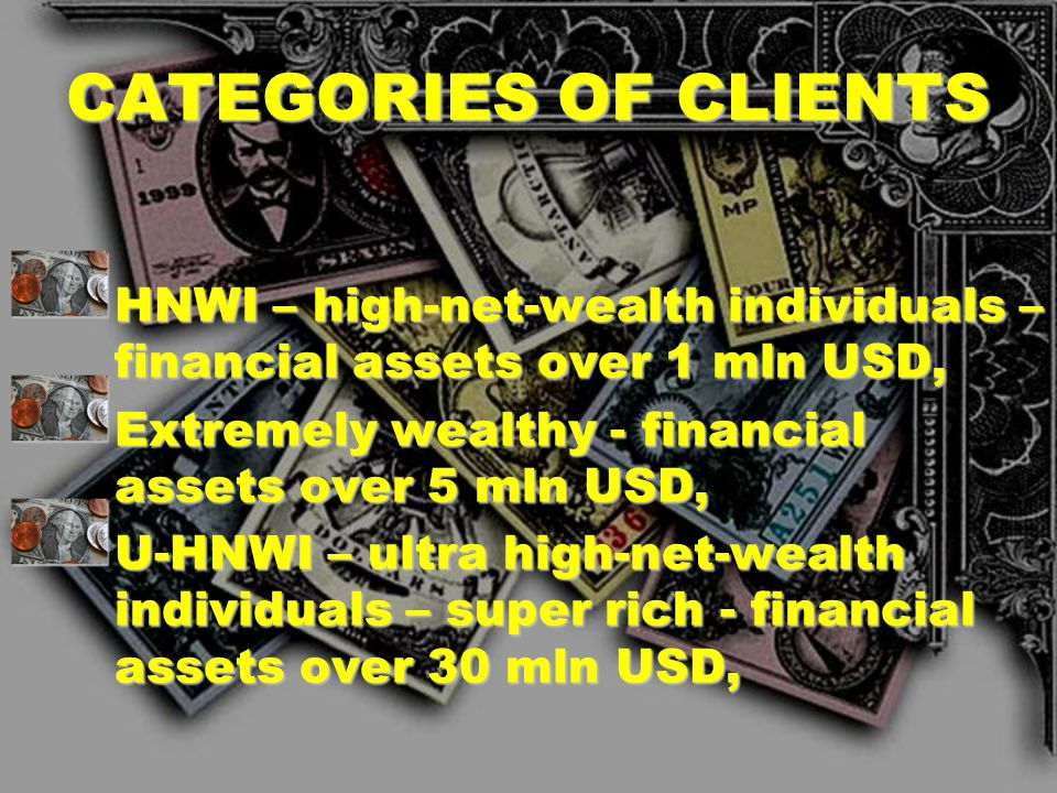 CATEGORIES OF CLIENTS HNWI – high-net-wealth individuals – financial assets over 1 mln USD, Extremely wealthy - financial assets over 5 mln USD,