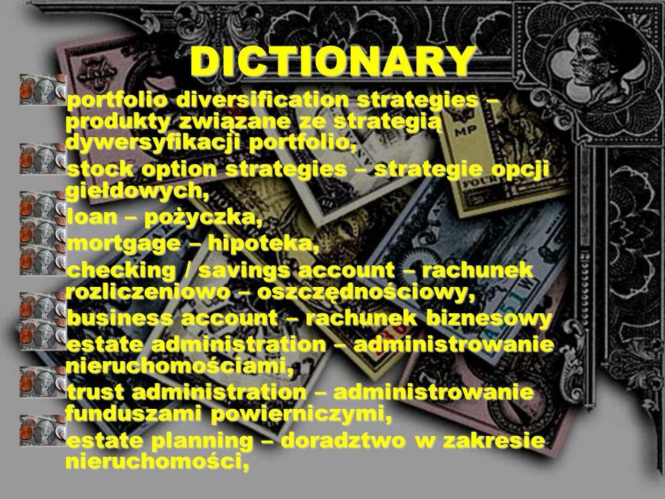 DICTIONARYportfolio diversification strategies – produkty związane ze strategią dywersyfikacji portfolio,