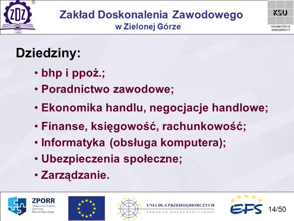 Dziedziny: bhp i ppoż.; Poradnictwo zawodowe;