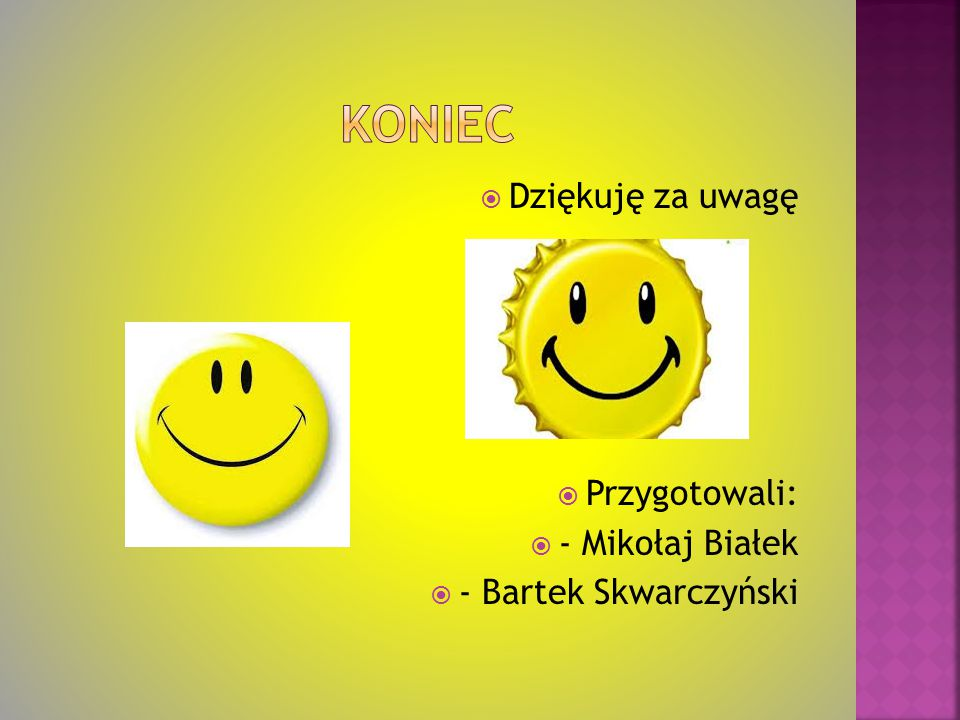 Koniec Dziękuję za uwagę Przygotowali: - Mikołaj Białek