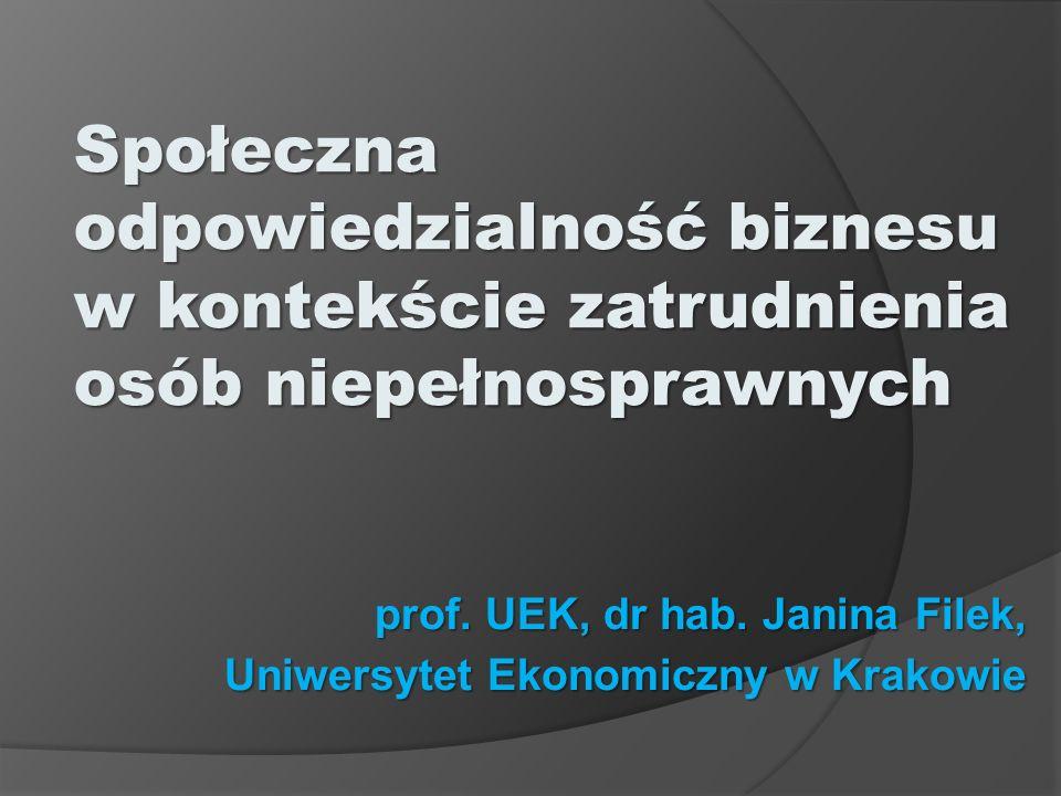 prof. UEK, dr hab. Janina Filek, Uniwersytet Ekonomiczny w Krakowie