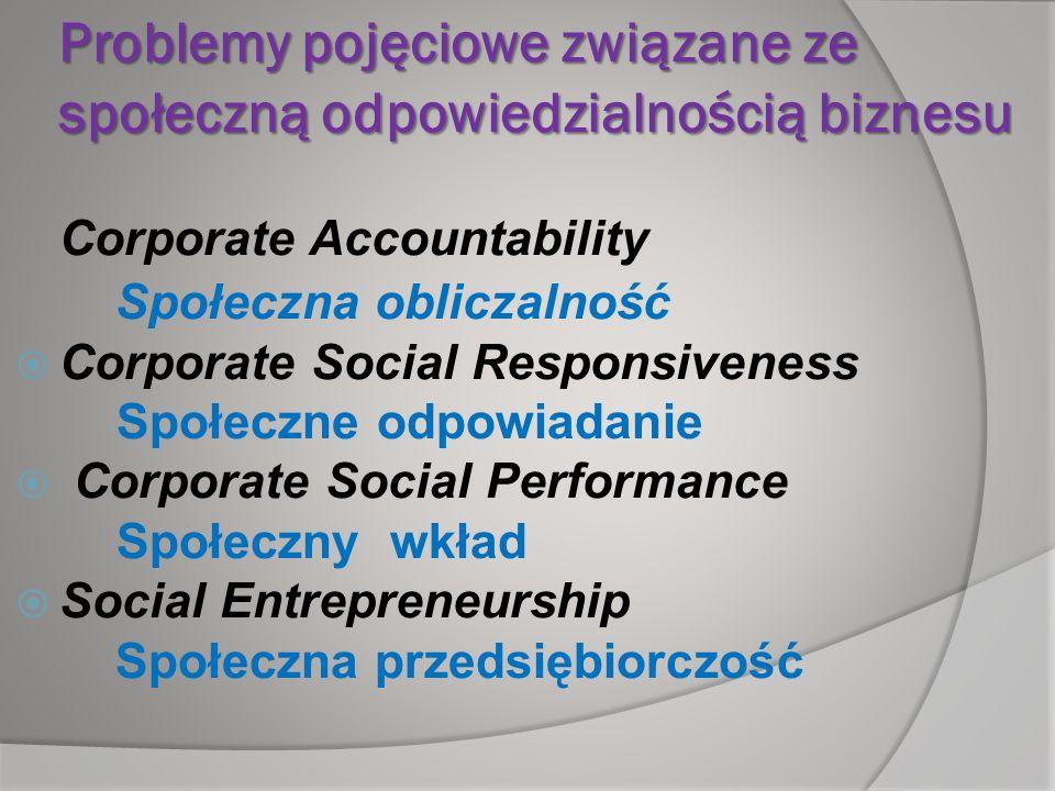 Problemy pojęciowe związane ze społeczną odpowiedzialnością biznesu
