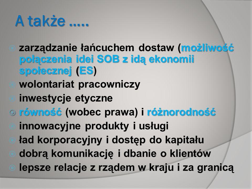A także ….. zarządzanie łańcuchem dostaw (możliwość połączenia idei SOB z idą ekonomii społecznej (ES)