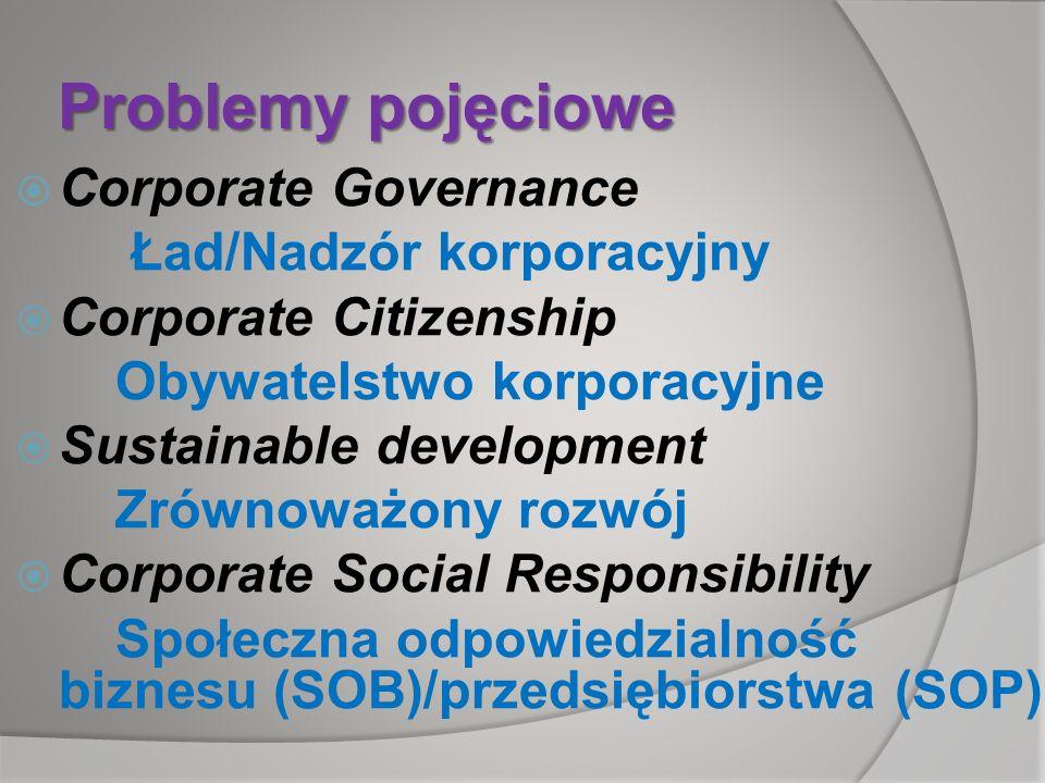 Problemy pojęciowe Corporate Governance Ład/Nadzór korporacyjny