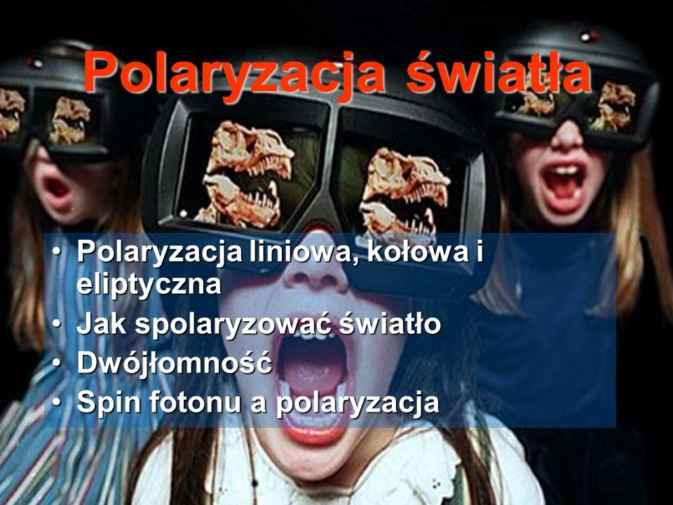 Polaryzacja światła Polaryzacja liniowa, kołowa i eliptyczna
