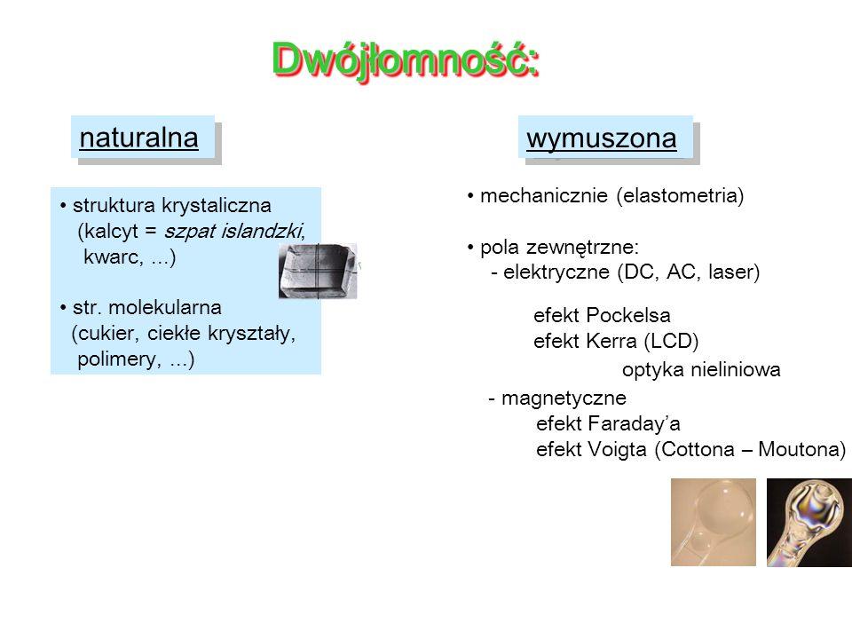Dwójłomność: naturalna wymuszona mechanicznie (elastometria)
