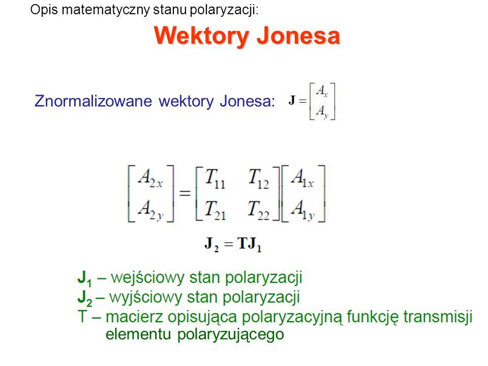 Wektory Jonesa Znormalizowane wektory Jonesa: elementu polaryzującego