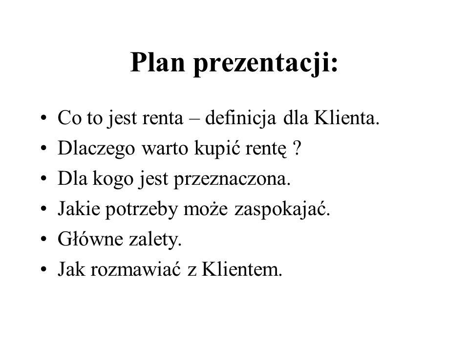 Plan prezentacji: Co to jest renta – definicja dla Klienta.