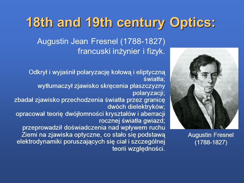 18th and 19th century Optics:
