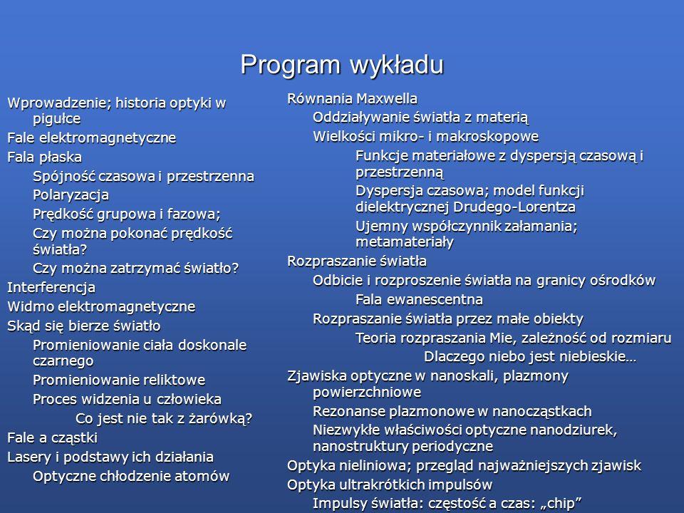 Program wykładu Równania Maxwella