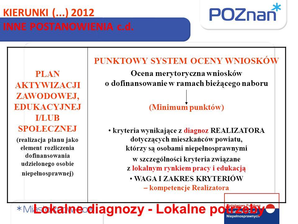 KIERUNKI (...) 2012 INNE POSTANOWIENIA c.d.