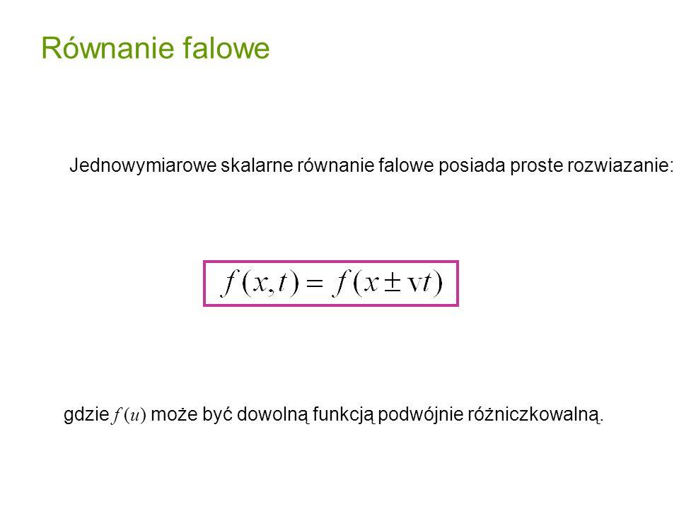 Równanie falowe Jednowymiarowe skalarne równanie falowe posiada proste rozwiazanie: gdzie f (u) może być dowolną funkcją podwójnie różniczkowalną.