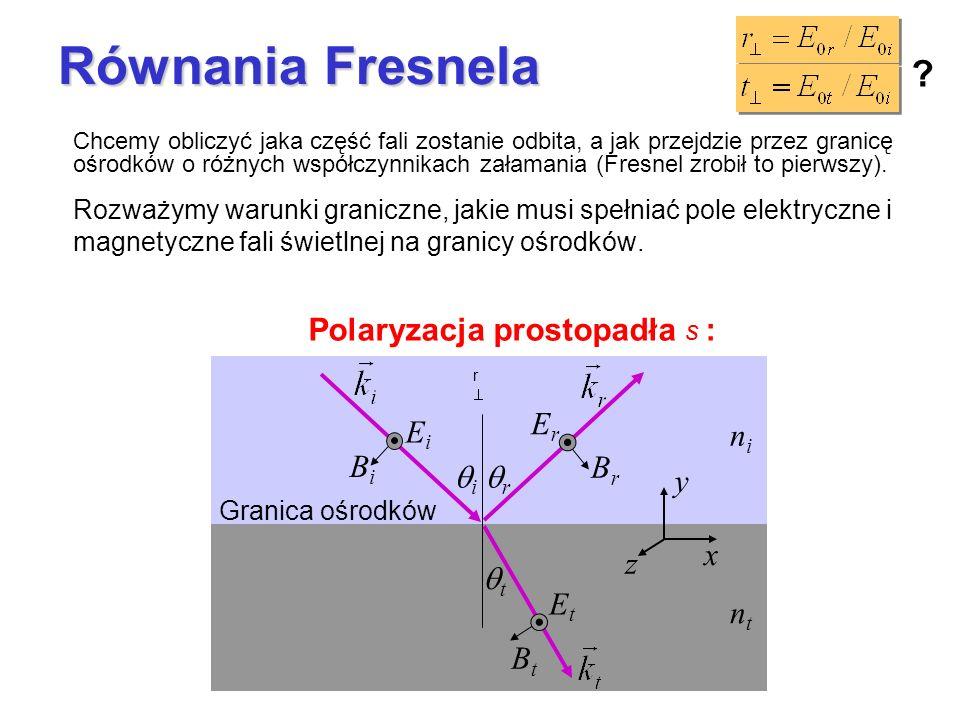 Równania Fresnela Polaryzacja prostopadła s : ni nt qi qr qt Ei Bi