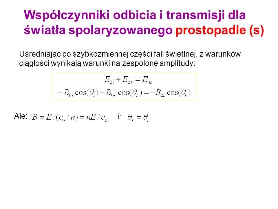 Współczynniki odbicia i transmisji dla światła spolaryzowanego prostopadle (s)