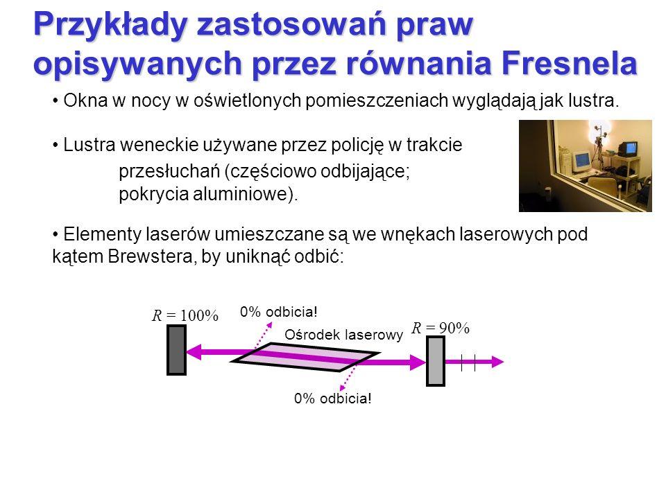 Przykłady zastosowań praw opisywanych przez równania Fresnela