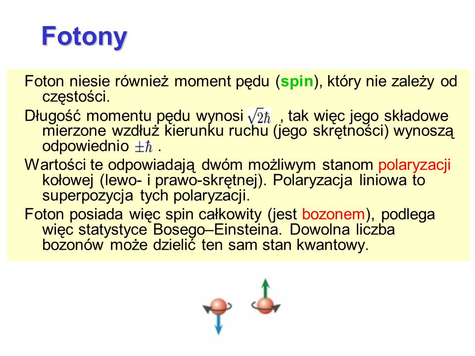 FotonyFoton niesie również moment pędu (spin), który nie zależy od częstości.