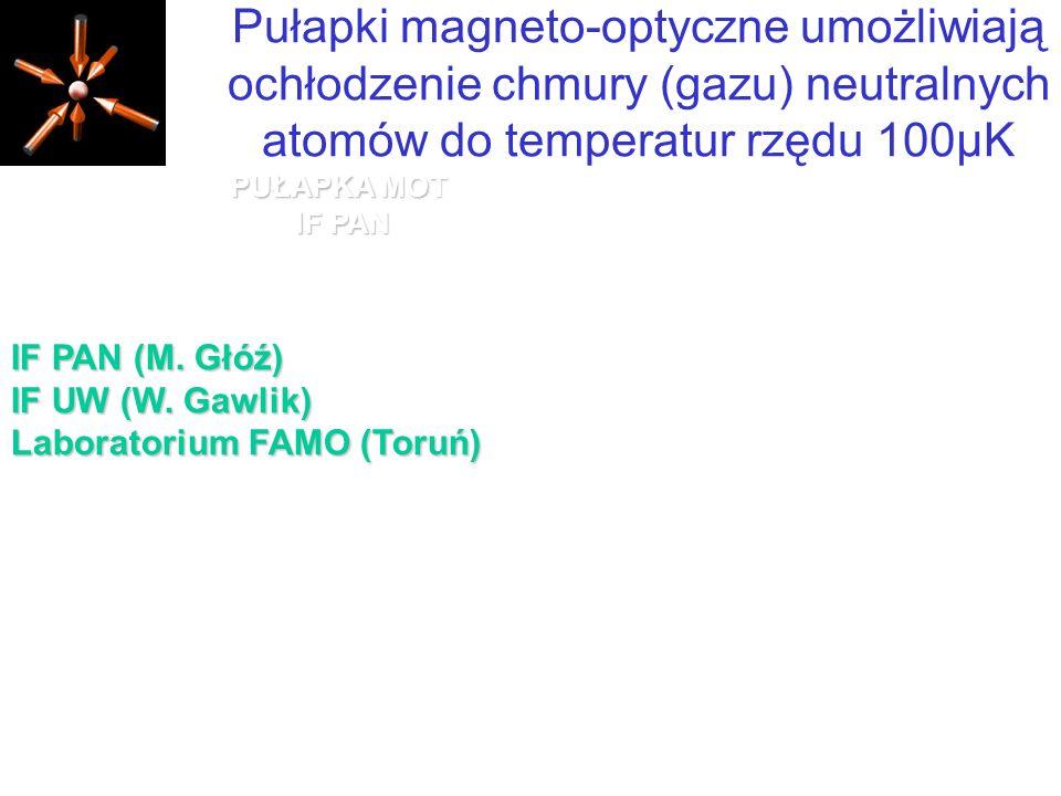 Pułapki magneto-optyczne umożliwiają ochłodzenie chmury (gazu) neutralnych atomów do temperatur rzędu 100µK
